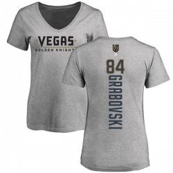 Women's Mikhail Grabovski Vegas Golden Knights Backer Slim Fit V-Neck T-Shirt - Heathered Gray