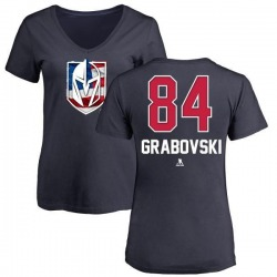 Women's Mikhail Grabovski Vegas Golden Knights Name and Number Banner Wave V-Neck T-Shirt - Navy