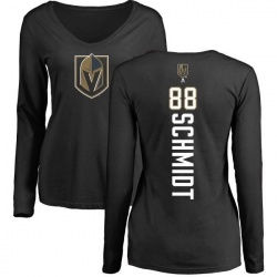 Women's Nate Schmidt Vegas Golden Knights Backer Slim Fit Long Sleeve T-Shirt - Black