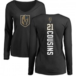 Women's Nick Cousins Vegas Golden Knights Backer Slim Fit Long Sleeve T-Shirt - Black