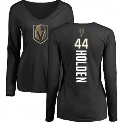 Women's Nick Holden Vegas Golden Knights Backer Slim Fit Long Sleeve T-Shirt - Black