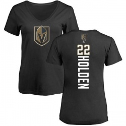 Women's Nick Holden Vegas Golden Knights Backer Slim Fit V-Neck T-Shirt - Black