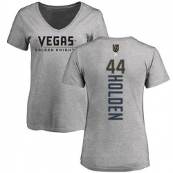 Women's Nick Holden Vegas Golden Knights Backer Slim Fit V-Neck T-Shirt - Heathered Gray