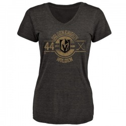 Women's Nick Holden Vegas Golden Knights Insignia Tri-Blend V-Neck T-Shirt - Black