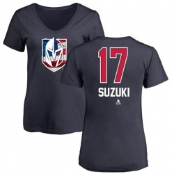 Women's Nick Suzuki Vegas Golden Knights Name and Number Banner Wave V-Neck T-Shirt - Navy