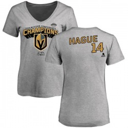 Women's Nicolas Hague Vegas Golden Knights 2018 Western Conference Champions Long Change V-Neck T-Shirt - Heather Gray