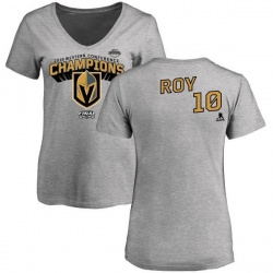 Women's Nicolas Roy Vegas Golden Knights 2018 Western Conference Champions Long Change V-Neck T-Shirt - Heather Gray