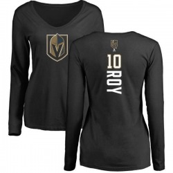 Women's Nicolas Roy Vegas Golden Knights Backer Slim Fit Long Sleeve T-Shirt - Black