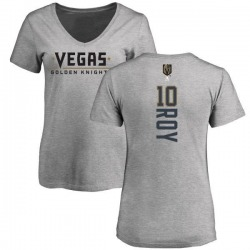 Women's Nicolas Roy Vegas Golden Knights Backer Slim Fit V-Neck T-Shirt - Heathered Gray