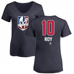 Women's Nicolas Roy Vegas Golden Knights Name and Number Banner Wave V-Neck T-Shirt - Navy
