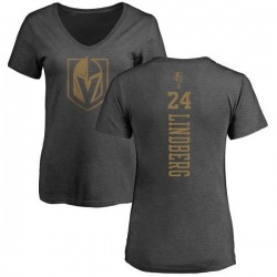 Women's Oscar Lindberg Vegas Golden Knights Charcoal One Color Backer T-Shirt