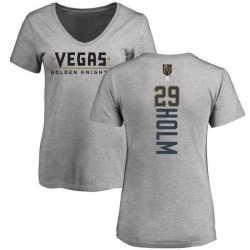 Women's Philip Holm Vegas Golden Knights Backer Slim Fit V-Neck T-Shirt - Heathered Gray