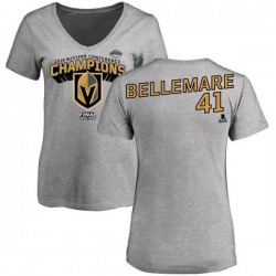 Women's Pierre-Edouard Bellemare Vegas Golden Knights 2018 Western Conference Champions Long Change V-Neck T-Shirt - Heather Gra