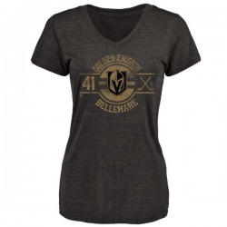 Women's Pierre-Edouard Bellemare Vegas Golden Knights Insignia Tri-Blend V-Neck T-Shirt - Black