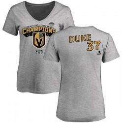 Women's Reid Duke Vegas Golden Knights 2018 Western Conference Champions Long Change V-Neck T-Shirt - Heather Gray