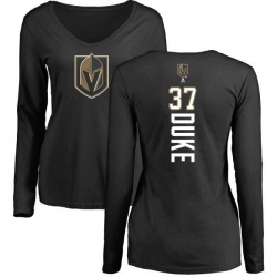 Women's Reid Duke Vegas Golden Knights Backer Slim Fit Long Sleeve T-Shirt - Black