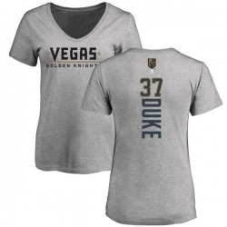 Women's Reid Duke Vegas Golden Knights Backer Slim Fit V-Neck T-Shirt - Heathered Gray