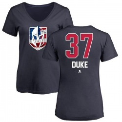Women's Reid Duke Vegas Golden Knights Name and Number Banner Wave V-Neck T-Shirt - Navy