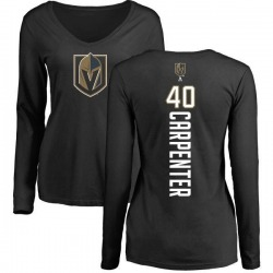 Women's Ryan Carpenter Vegas Golden Knights Backer Slim Fit Long Sleeve T-Shirt - Black