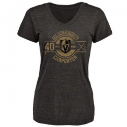 Women's Ryan Carpenter Vegas Golden Knights Insignia Tri-Blend V-Neck T-Shirt - Black