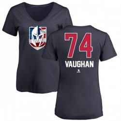 Women's Scooter Vaughan Vegas Golden Knights Name and Number Banner Wave V-Neck T-Shirt - Navy