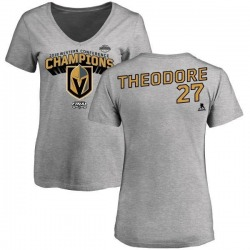 Women's Shea Theodore Vegas Golden Knights 2018 Western Conference Champions Long Change V-Neck T-Shirt - Heather Gray