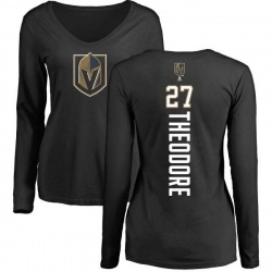 Women's Shea Theodore Vegas Golden Knights Backer Slim Fit Long Sleeve T-Shirt - Black