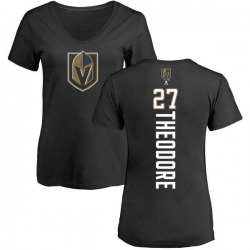 Women's Shea Theodore Vegas Golden Knights Backer Slim Fit V-Neck T-Shirt - Black