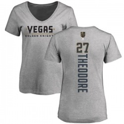 Women's Shea Theodore Vegas Golden Knights Backer Slim Fit V-Neck T-Shirt - Heathered Gray