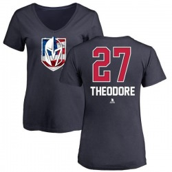 Women's Shea Theodore Vegas Golden Knights Name and Number Banner Wave V-Neck T-Shirt - Navy