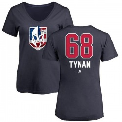 Women's T.J. Tynan Vegas Golden Knights Name and Number Banner Wave V-Neck T-Shirt - Navy