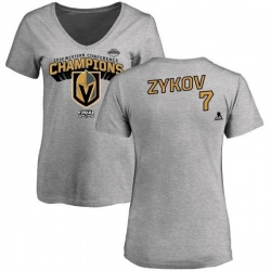 Women's Valentin Zykov Vegas Golden Knights 2018 Western Conference Champions Long Change V-Neck T-Shirt - Heather Gray