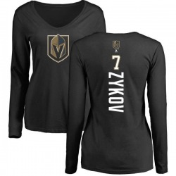 Women's Valentin Zykov Vegas Golden Knights Backer Slim Fit Long Sleeve T-Shirt - Black