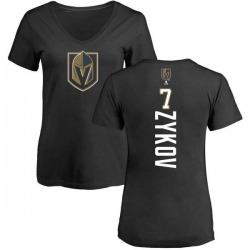 Women's Valentin Zykov Vegas Golden Knights Backer Slim Fit V-Neck T-Shirt - Black