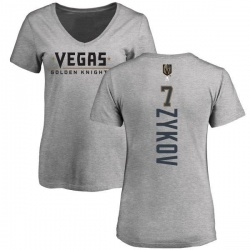 Women's Valentin Zykov Vegas Golden Knights Backer Slim Fit V-Neck T-Shirt - Heathered Gray