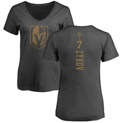 Women's Valentin Zykov Vegas Golden Knights Charcoal One Color Backer T-Shirt