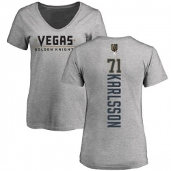 Women's William Karlsson Vegas Golden Knights Backer Slim Fit V-Neck T-Shirt - Heathered Gray