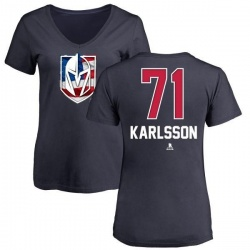 Women's William Karlsson Vegas Golden Knights Name and Number Banner Wave V-Neck T-Shirt - Navy