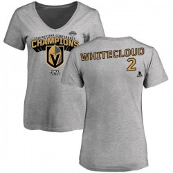 Women's Zach Whitecloud Vegas Golden Knights 2018 Western Conference Champions Long Change V-Neck T-Shirt - Heather Gray