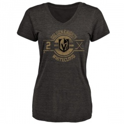 Women's Zach Whitecloud Vegas Golden Knights Insignia Tri-Blend V-Neck T-Shirt - Black