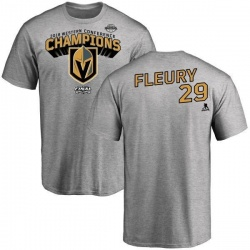 Youth Marc-Andre Fleury Vegas Golden Knights 2018 Western Conference Champions Long Change T-Shirt - Heather Gray