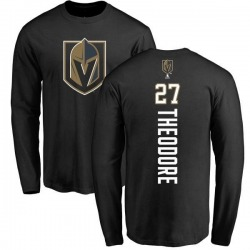 Youth Shea Theodore Vegas Golden Knights Backer Long Sleeve T-Shirt - Black