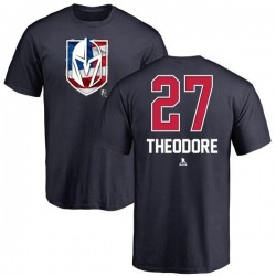 Youth Shea Theodore Vegas Golden Knights Name and Number Banner Wave T-Shirt - Navy