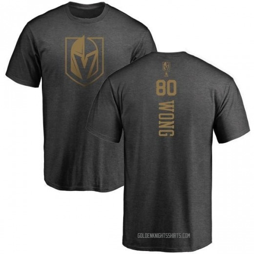 Youth Tyler Wong Vegas Golden Knights Charcoal One Color Backer T-Shirt